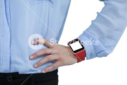 Businesswoman wearing smartwatch