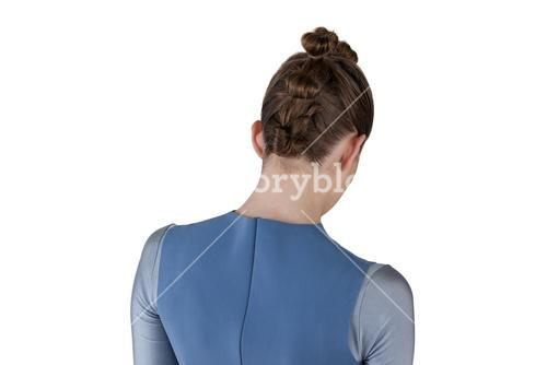 Rear view of woman with hairstyle