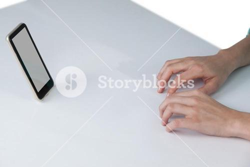 Hand typing on invisible keyboard
