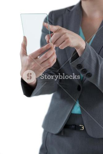 Businesswoman pretending to use mobile phone