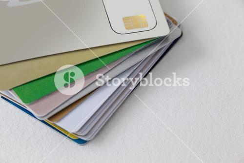 Smart cards on white background