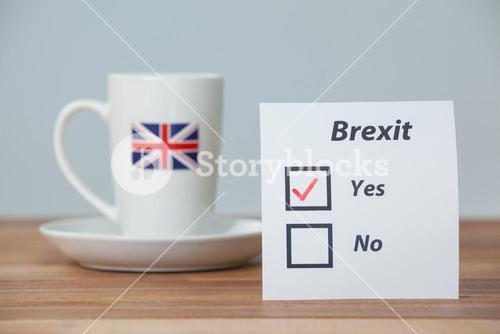 Sticky notes with brexit referendum concept and union jack cup