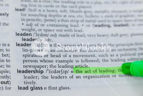 Highlighted definition of leadership in dictionary