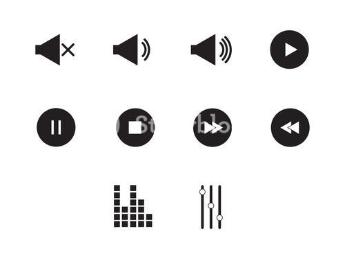 Music player icons vector signs