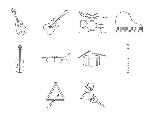 Musical instrument icons vector signs