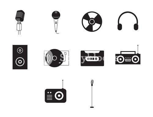 Simple music icons set