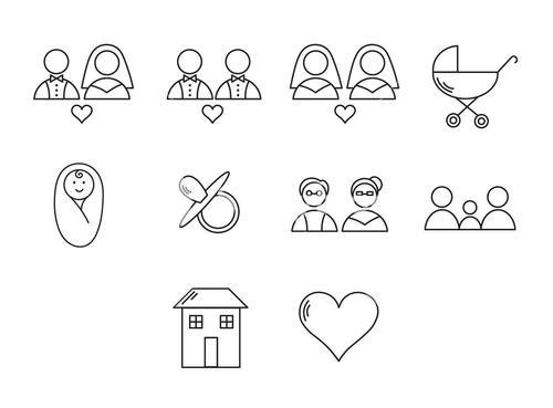 Vector set icons set for wedding cycle