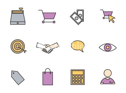 Vector set icons set for business and shopping