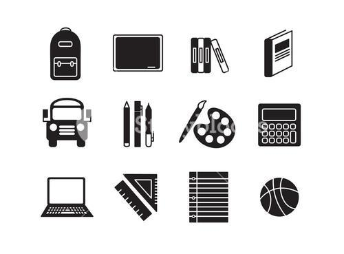 Vector set icons set for school