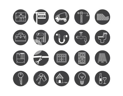 Vector icon set for house construction