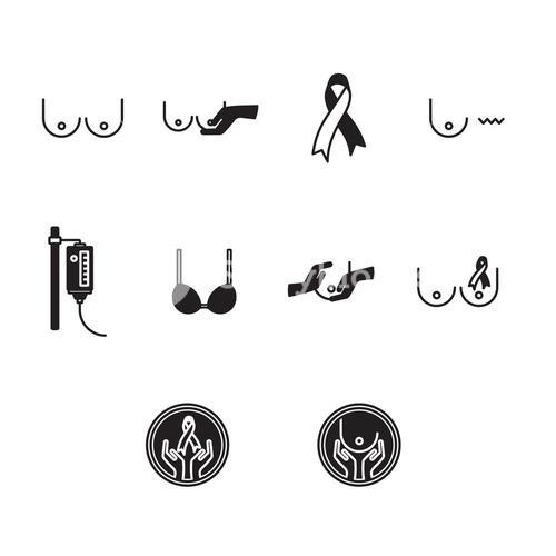 Vector icon set for breast cancer