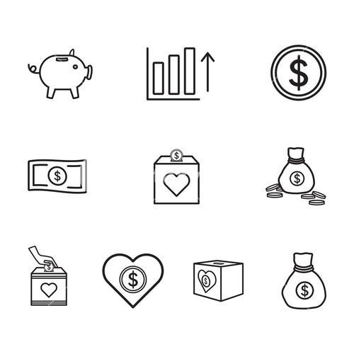 Vector icon set for banking
