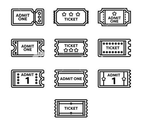 Vector icon set for tickets