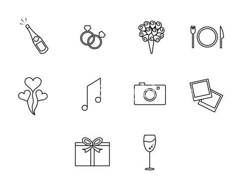 Vector of wedding icon set