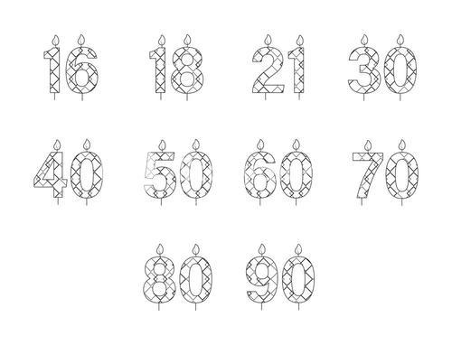 Vector icon set for birthday candles