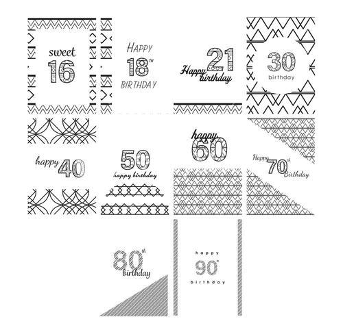 Vector icon set for birthday cards