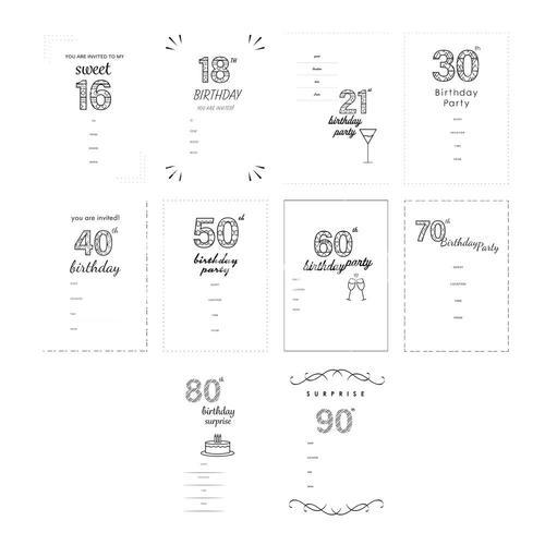 Vector icon set for invitation cards