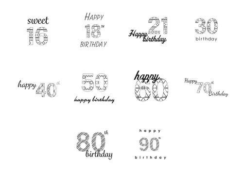 Vector icon set for birthday wishes