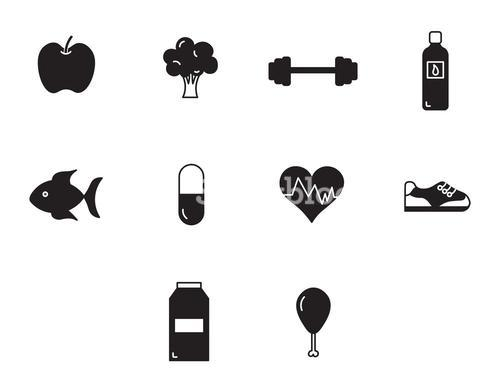 Vector icon set for health and fitness