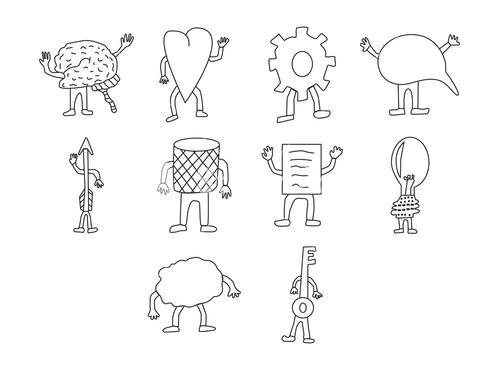 Vector icon set for brain functioning