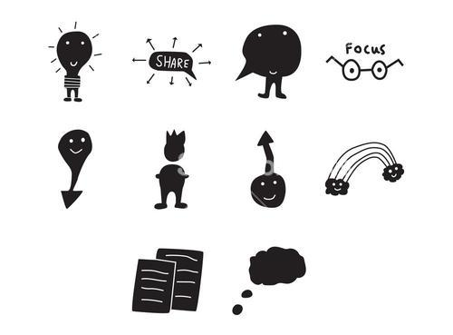 Vector icon set for sharing ideas