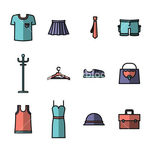 Vector icon set for wardrobe and fashion