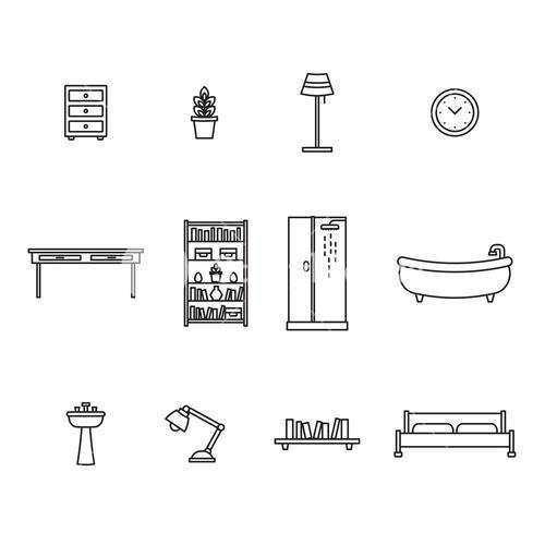 Vector icon set for furniture and home décor