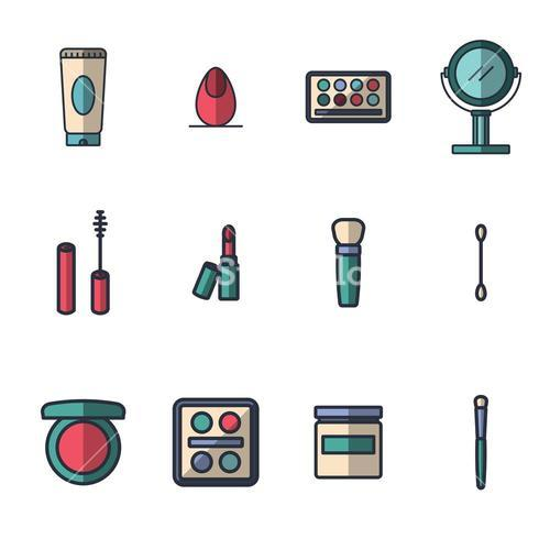 Vector icon set for cosmetics