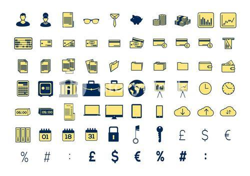 Vector icon set for business and finance