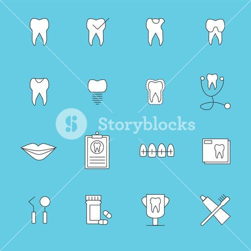 Vector icon set for dental care