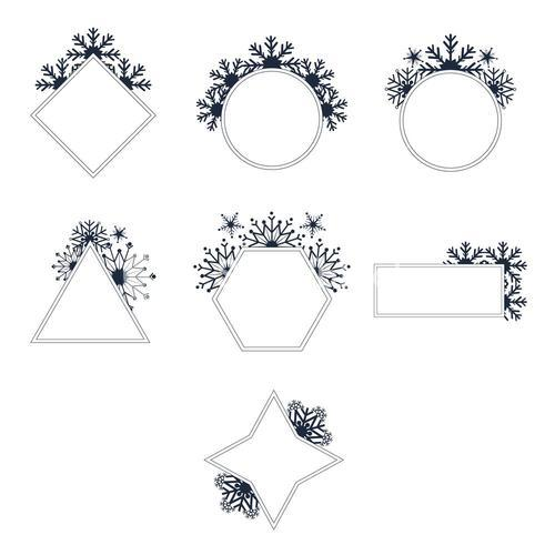 Vector set of mirrors of different shapes
