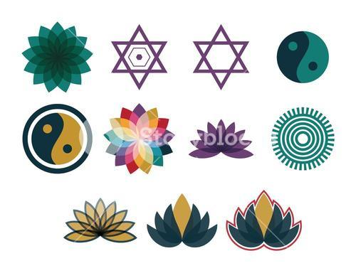 Vector icon set for symmetric geometry shapes