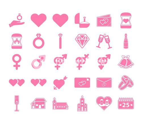 Vector icon set of wedding and engagement