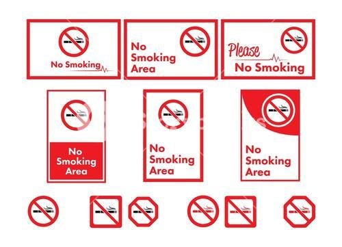 Vector icon set of no smoking
