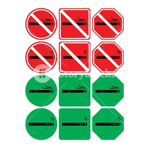 Vector icon set of no smoking and smoking allowed