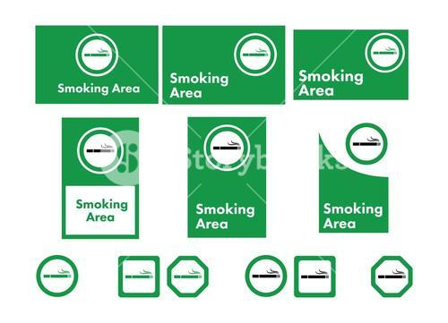 Vector icon set of smoking allowed