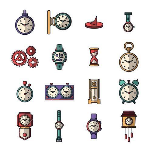 Vector icon set of various clock