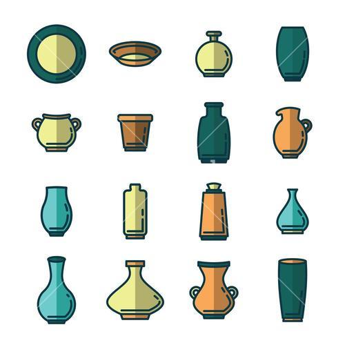 Vector icon set of various kitchenware
