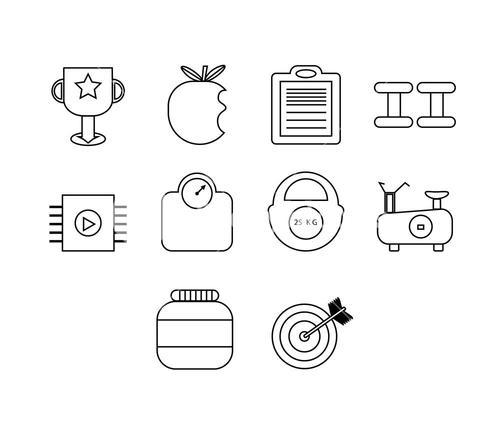 Vector icon set for exercise and diet