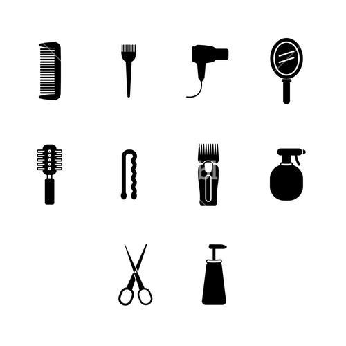Vector icons set of barber equipment and accessories