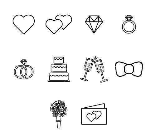 Vector icon set for wedding and engagement