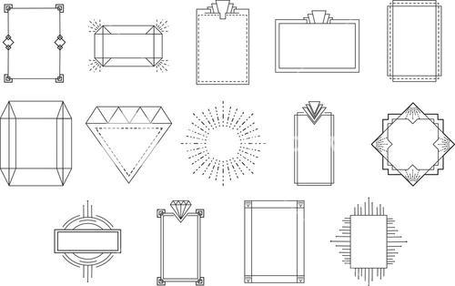 Vector icon set for geometric signs and frame
