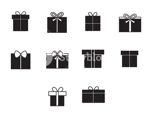 Vector icon set of gift