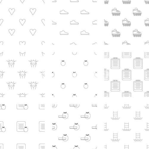 Vector icon set of fitness and health