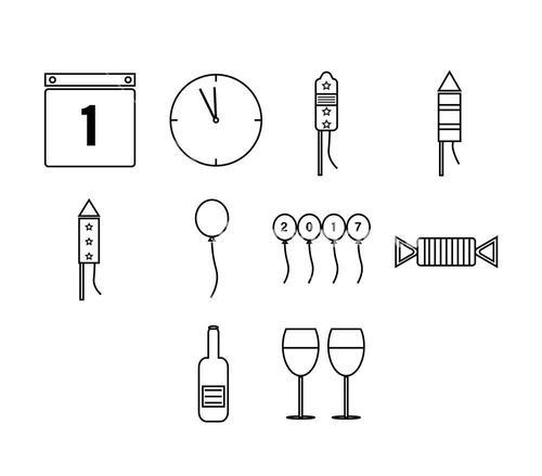 Vector icon set of new year's eve