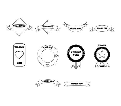 Vector icon set of thank you labels