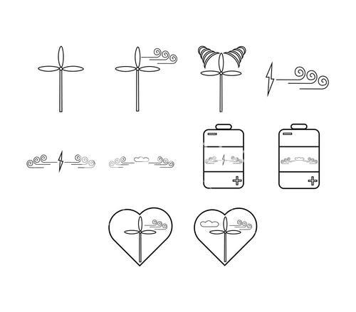 Vector icon set of fuel and power generation
