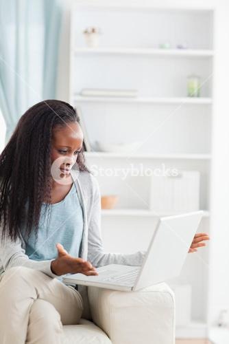Woman experiencing computer problems
