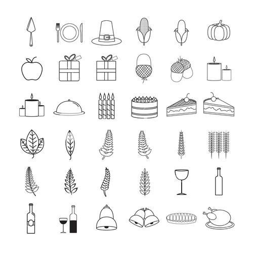Vector icon set of food and drink