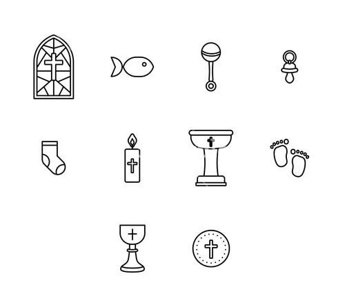 Vector icon set of religious sign and symbol